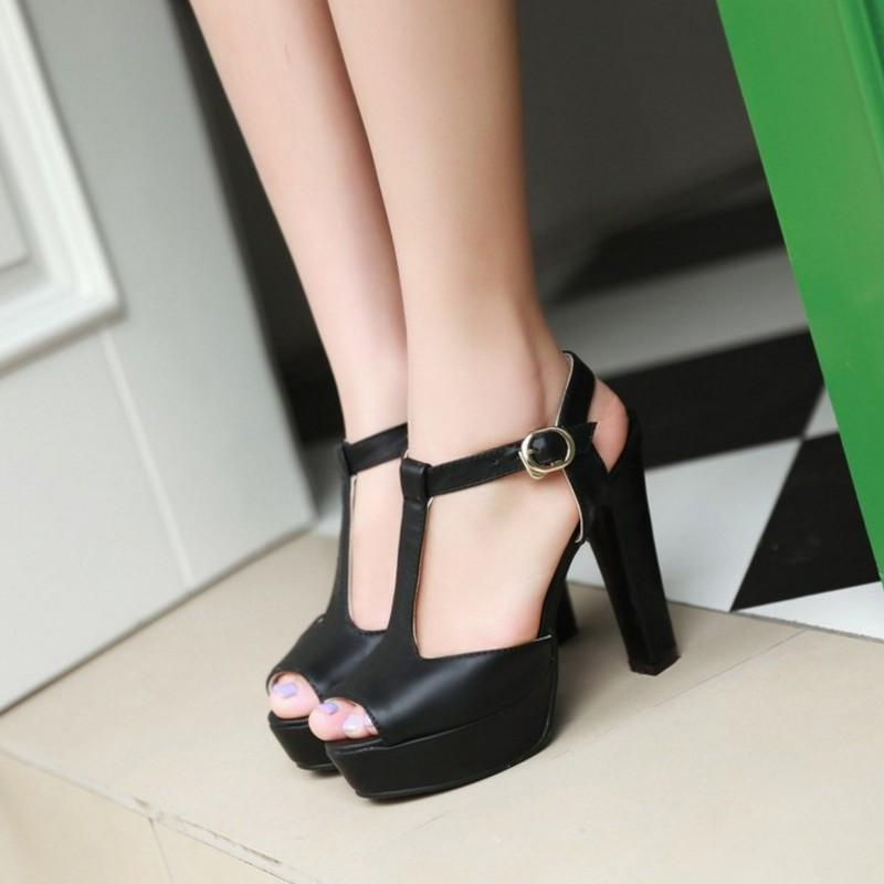 Fashion Thick High Heels Platform Sandal Shoes For Women Sexy Open Toe T-Strap Sandals Shoes Hot Sale-SLIPS-SheSimplyShops