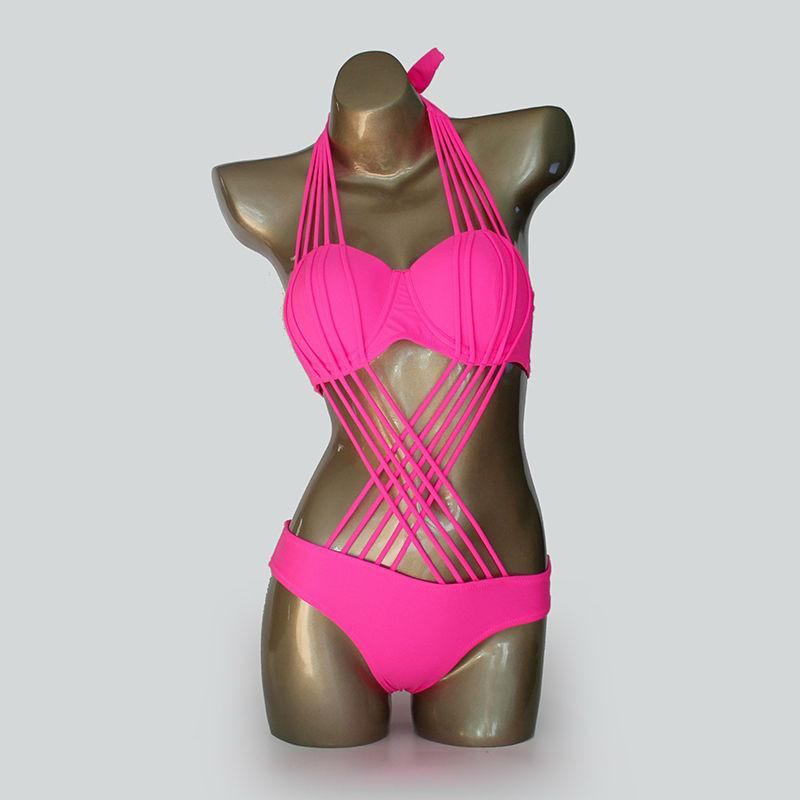 One Piece Sexy Brazilian Push Up Monokini Bandage Strappy Women's Trikini-SWIMWEAR-SheSimplyShops