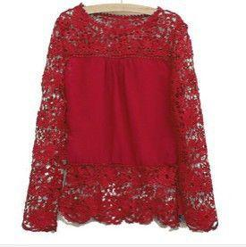 Flower Lace Long Sleeve Chiffon Blouse-Blouse-SheSimplyShops