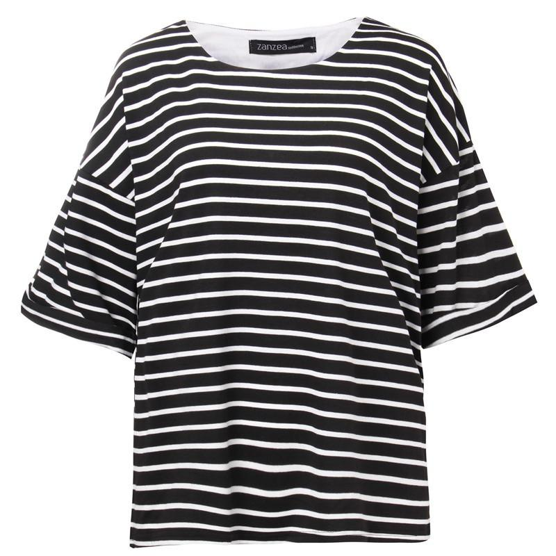 Fashion Striped Tee Tops Tees Casual Loose O Neck Batwing Sleeve T Shirt For Women Plus Size-SHIRTS-SheSimplyShops