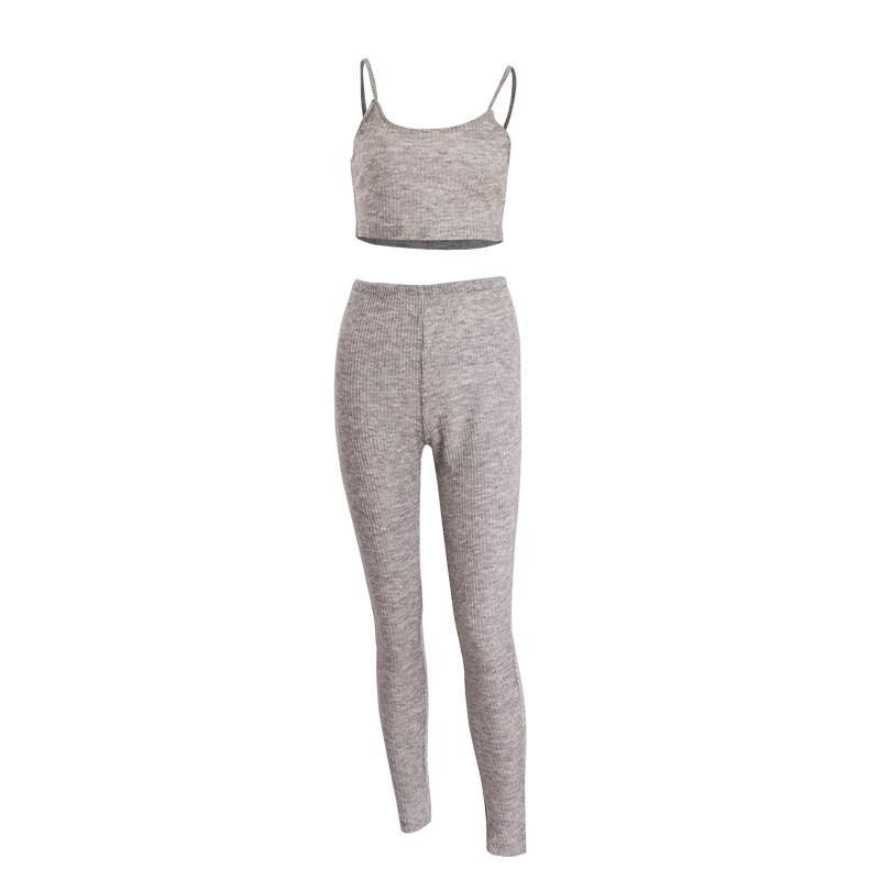 Fashion Two Piece Bodycon Jumpsuit Sexy Women Gray Sleeveless Bandage Tank Top Skinny Long Jumpsuit for Women Party-ROMPERS & JUMPSUITS-SheSimplyShops