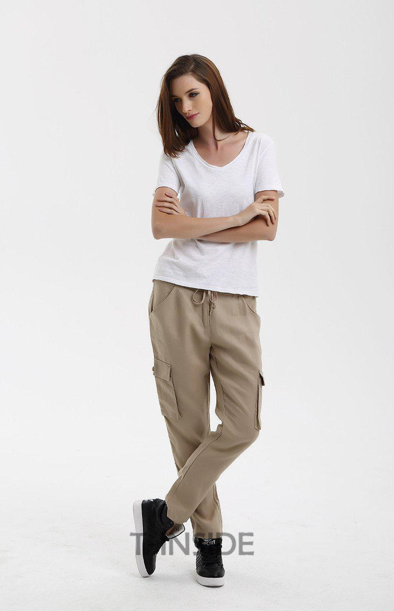 T-Inside Women Cargo Pants Elastic Waist with Strap and Side Big Pockets Design Causal Sport Women's Trousers Brand New-ACTIVEWEAR-SheSimplyShops