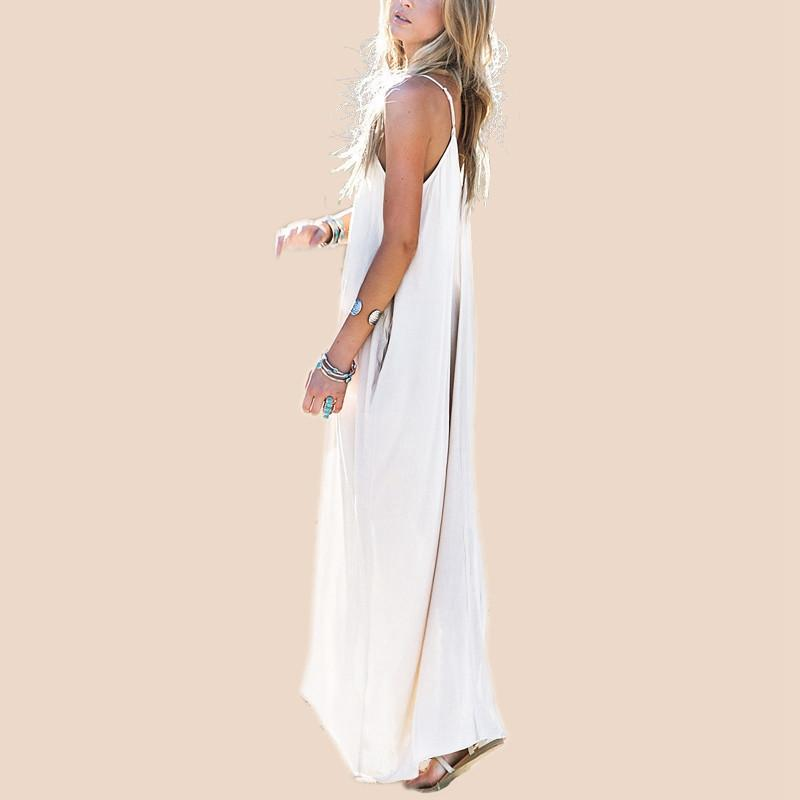 Summer Casual Women Strapless Long Maxi Beach Dress Sexy V Neck Sleeveless Long Maxi Baggy Dress-Dress-SheSimplyShops
