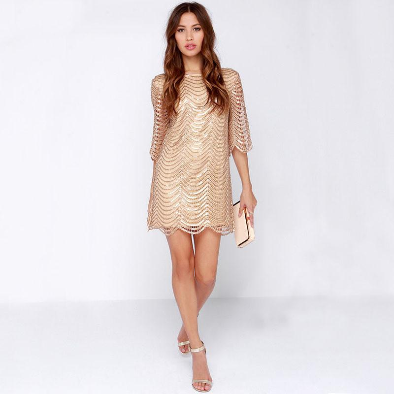 European style dress elegant gold wave dress hollow out sleeve women dress-Dress-SheSimplyShops