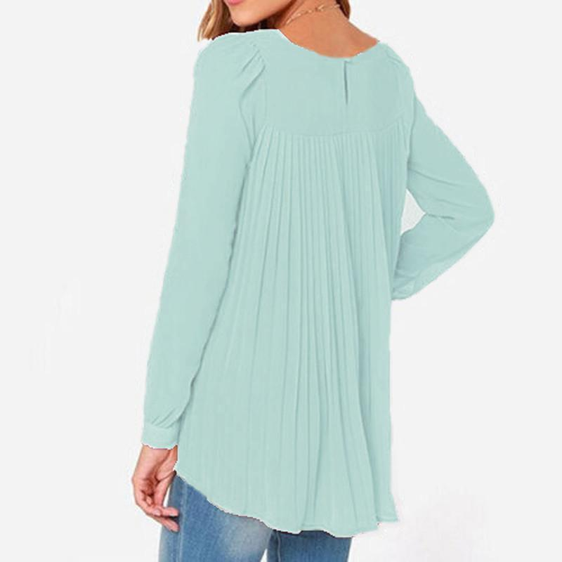 Summer Style Women Sexy Casual Loose Chiffon Tops Long Sleeve Solid Shirts Ladies-SHIRTS-SheSimplyShops