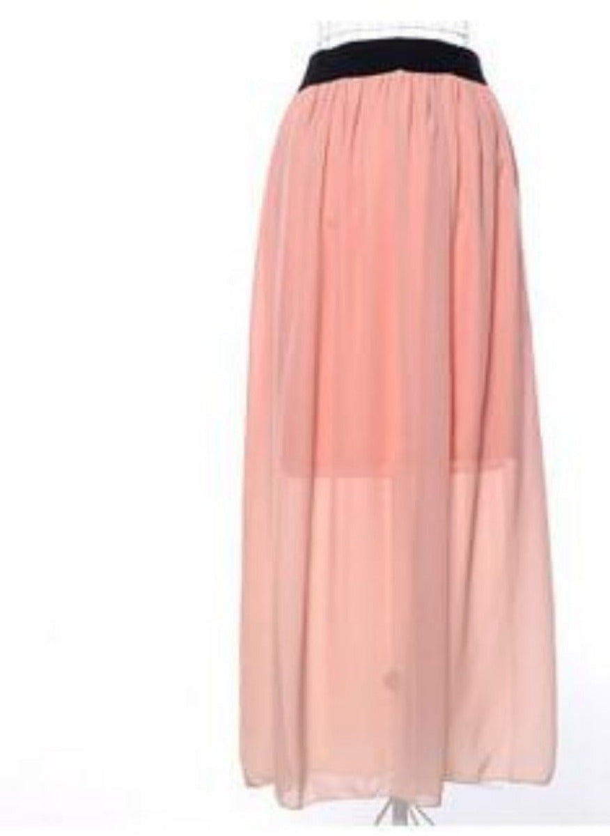 Summer Fashion Double Layer Chiffon Pleated Elastic Waist long Maxi Skirt-Dress-SheSimplyShops