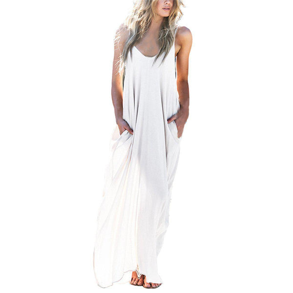 Summer Casual Women Strapless Long Maxi Beach Dress Sexy V Neck Sleeveless Long Maxi Baggy Dress-BAG-SheSimplyShops