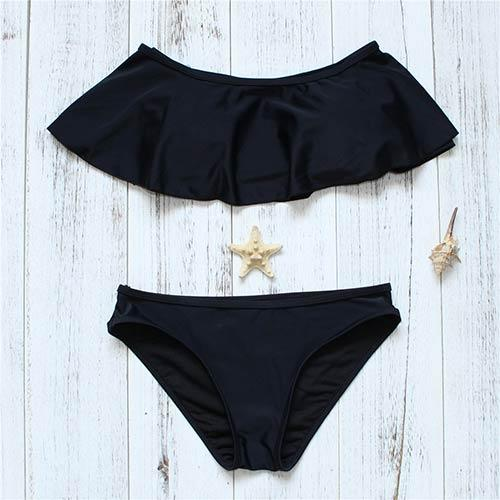 Orange Stroppy Bikini Set Swimsuit Low Waist Bottom Fold Swimwear Girls Bathing Suit Pad Black Bikini Beach Wear-Bottoms-SheSimplyShops
