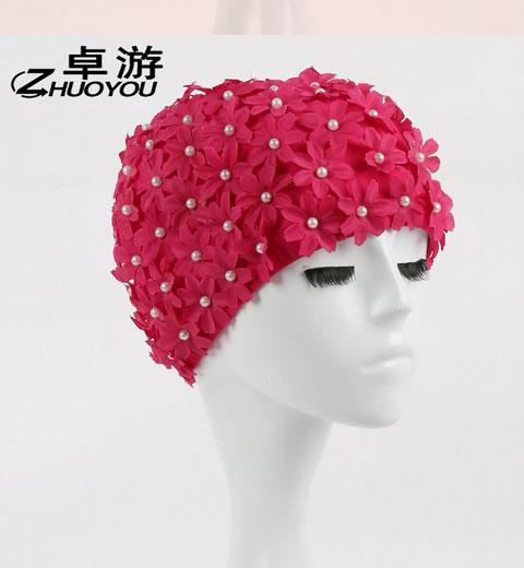Women 3D Petals Swimming Caps Long Hairs Ear Protection Large Hand-sewn bead sand Multi Colors Swim Cap-SheSimplyShops