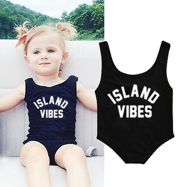 Baby Swimwear Women One Piece Swimsuit ISLAND VIBES Letter Print Sexy Bodysuit Kids Beach Wear Child Bathing Suit-SWIMWEAR-SheSimplyShops