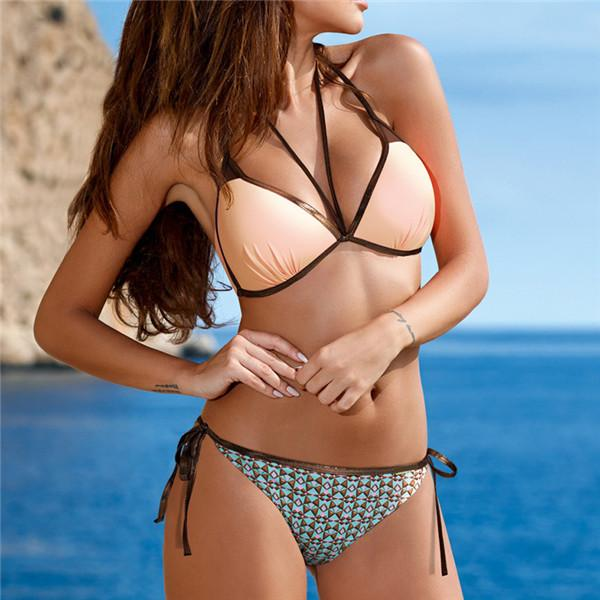 Bordered Mesh Halter Cut Out Bandage Swimsuit Swimwear Women Push Up Bikini-SWIMWEAR-SheSimplyShops