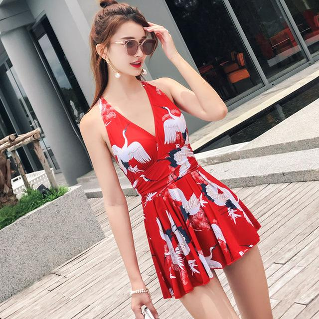 Women Swimsuit Solid Skirted Bathing Suit Padded One Piece Ruched Beach Dress Sexy Ladies Swimwear-Dress-SheSimplyShops