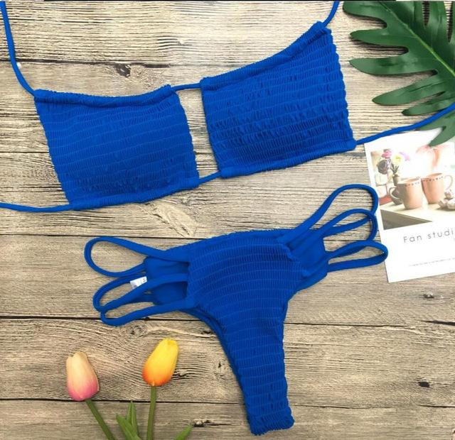 New Solid Bikinis Set Wrinkled Bandage Swimsuit Summer Beach Swimwear Sexy Bathing Suit Halter Swimming Suit-SWIMWEAR-SheSimplyShops