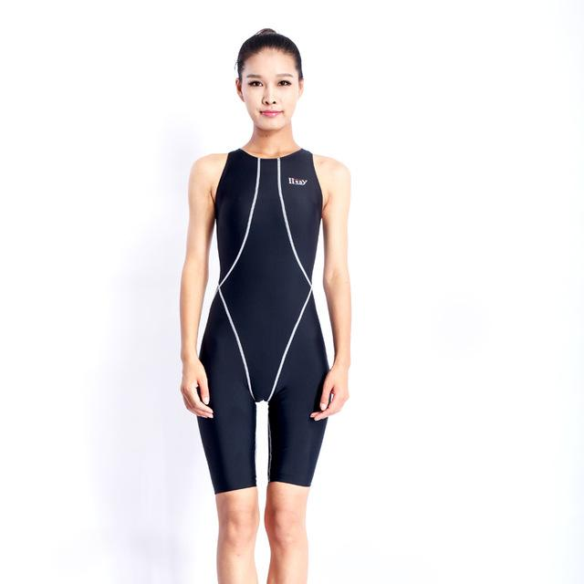 Professional competition knee length waterproof chlorine resistant women's swimwear sharkskin swimsuit-SWIMWEAR-SheSimplyShops
