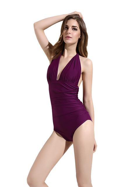 solid swimwear women sexy deep V swimsuit bathing suit push up one piece swimsuit halter bodysuit-SWIMWEAR-SheSimplyShops