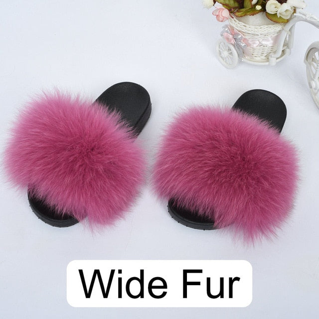 Women Big Fur Slippers Fox Fur Sliders Indoor Lady Natural Fur