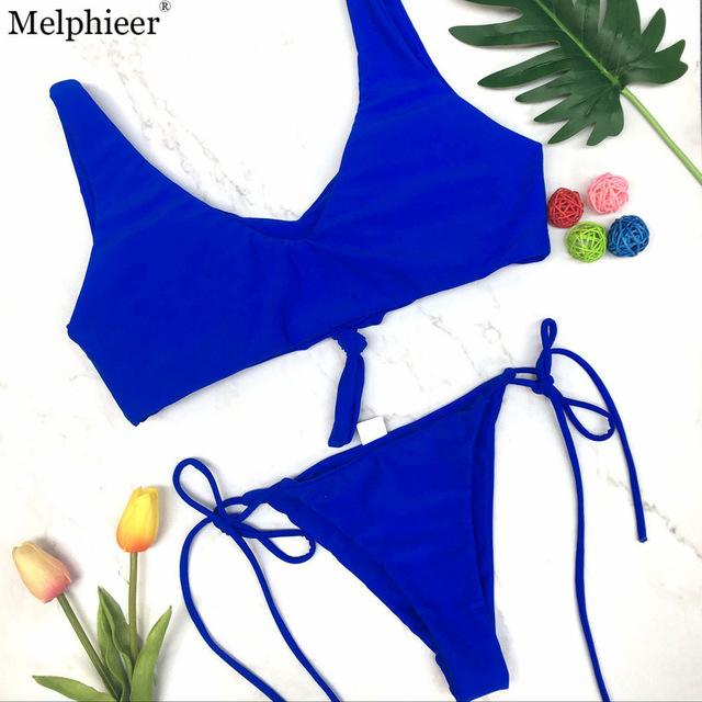 Bikini Set Solid Color Sexy Women Swimwear Chest Bow knot Push up Swimsuit Female Bandage Thongs Bathing Suit-SWIMWEAR-SheSimplyShops