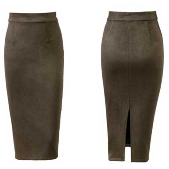 Women High Waist Suede Skirts Midi Length Winter Long Skirt Autumn Spring Back Slit Pencil Skirt Stretchy-SheSimplyShops