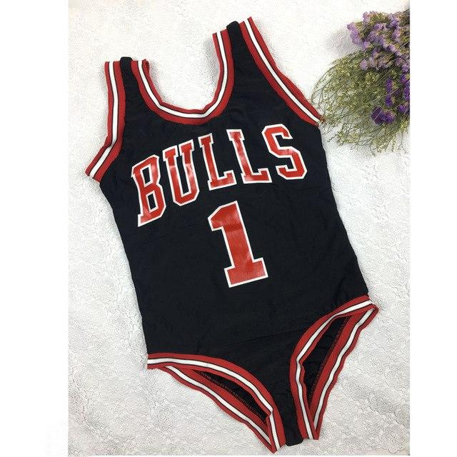 2018 New Monokini Swimwear Women Bulls Bodysuit One Piece Letter Swimsuit Bikini Basketball Red Sports Jumpsuits Sexy Costume-Body Suits-SheSimplyShops