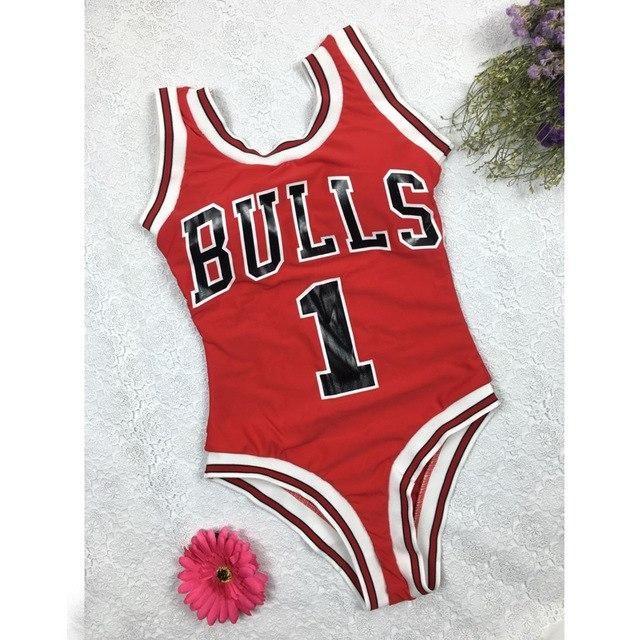 New Swimwear Women Bulls Bodysuit One Piece Letter Swimsuit Bikini Basketball Red Sports Jumpsuits Sexy Costume-Body Suits-SheSimplyShops