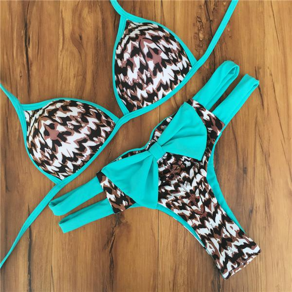 Leopard Printed Bow Halter Push UP Swimsuit-SWIMWEAR-SheSimplyShops