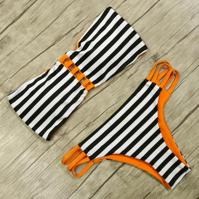 Bikini Set Sexy Vintage Women Swimwear Female Beach wear Retro Swim Bathing Suits Bandage Bikinis-SheSimplyShops