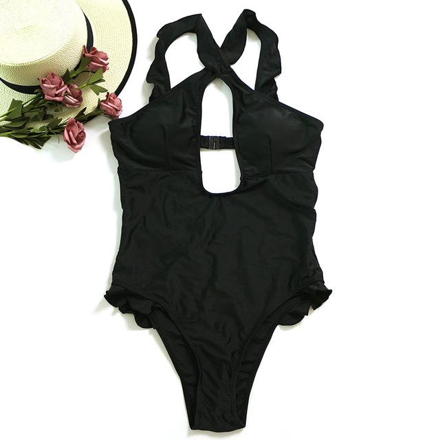 Black Tumble Ruffle Cut Out Swim Wear Bathing Suit High Waist Swimwear Women One Piece Swimsuit-SWIMWEAR-SheSimplyShops
