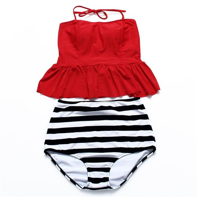 High waist Swimwear women Tanking bikini sexy striped soft bikini set padded swimsuit stroppy bikinis-Tanks-SheSimplyShops