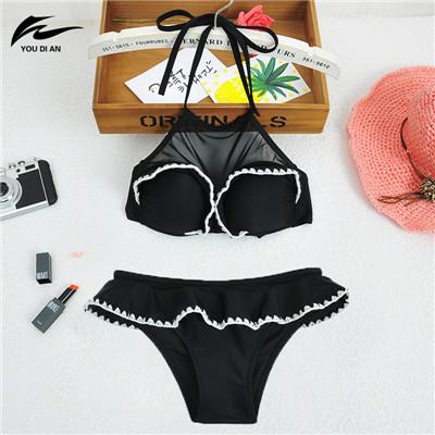 Women High Neck Bikini Swimwear Women Halter Lace Swimsuit Push Up Bikini Set Beach Bathing Suit-SWIMWEAR-SheSimplyShops
