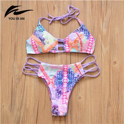 Woman Swimsuit Bathing Suit Solid Patchwork Push Up Bikini Swimming Suit-SWIMWEAR-SheSimplyShops