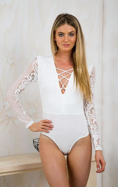 Summer New V Neck One Piece Jumpsuit Long Sleeve Women Sexy Bodysuit Jumpsuits Overalls Rompers Jumpsuit Body con Play suit-ROMPERS & JUMPSUITS-SheSimplyShops