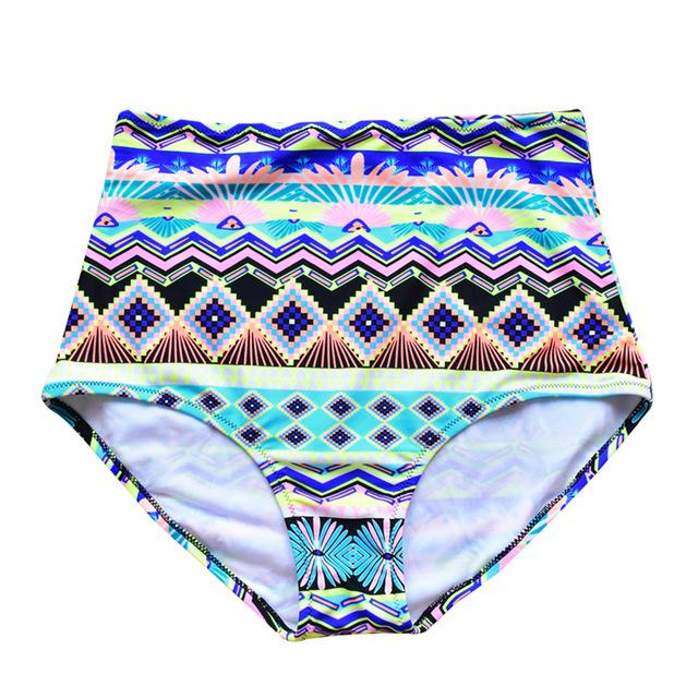 Women High Waist Swimming Beach Print Floral Swimwear Bikini Bottoms Underwear Swimming Shorts-SHORTS-SheSimplyShops