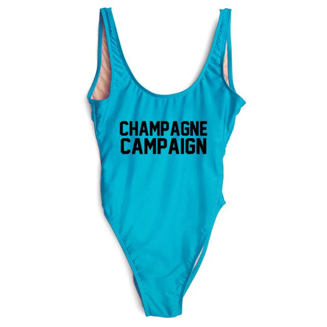 CHAMPAGNE CAMPAIGN Sexy Bodysuit One Piece Swimsuit High Cut Swimwear Women Bathing Suit Jumpsuit-ROMPERS & JUMPSUITS-SheSimplyShops
