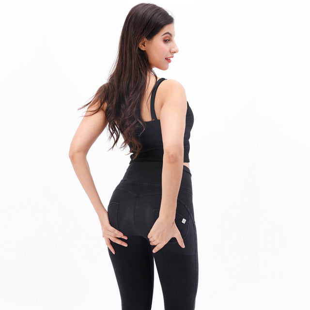Melody leather high waist long black yoga booty compression leggings women spandex leggings black leather pants in stock