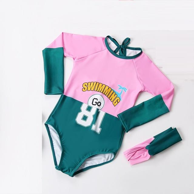 Girls Long sleeve sunscreen one piece swimsuit children Letter print- swimwear Girl tight body suit girl swimming suit-SheSimplyShops