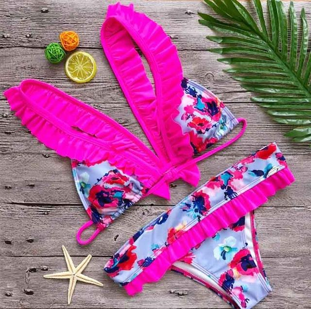 Women swimwear lace bow bikini set cute women swimsuit push bathing suit lace-SWIMWEAR-SheSimplyShops