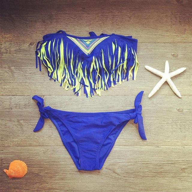 Girls Bathing Suit Children Swimwear Tassel Bikini Set for Girls Kids Two Piece Swimsuit Baby Girls Swimming Suits-SWIMWEAR-SheSimplyShops
