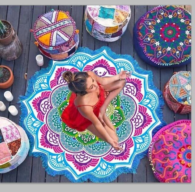 purple ball printing colorful sand polygon lotus beach towel printing shawl tassels Colored flowers Beach cushion-SheSimplyShops