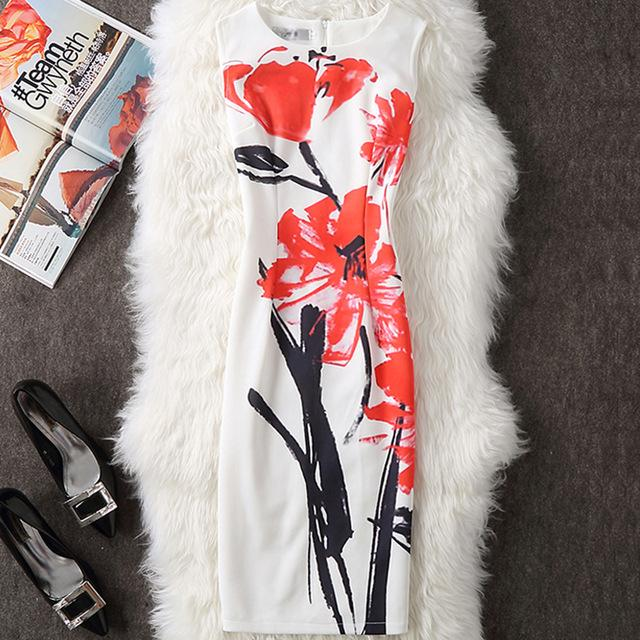 Women Summer Dress Elegant Floral Party Dresses Sexy Slim Office Pencil Body con Dress-Dress-SheSimplyShops
