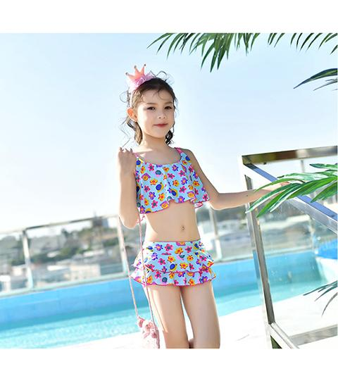Lady solid Dress Swimwear Children Swimsuit two Piece kids bikini Summer Beachwear Swim suit Bathing suit Girls-Dress-SheSimplyShops
