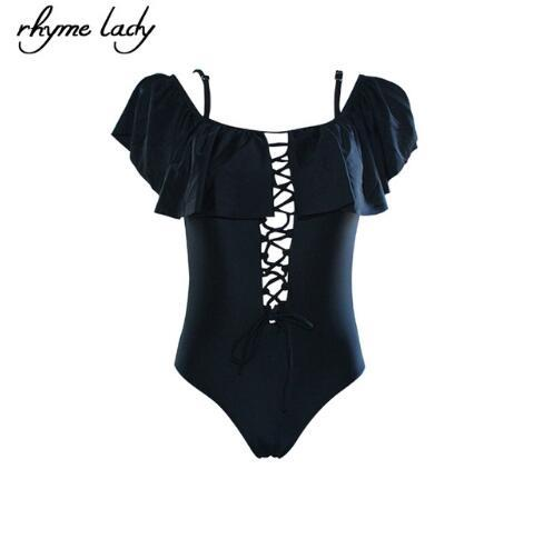 women one piece swimwear ruffle swimsuit cross swimming suit-SWIMWEAR-SheSimplyShops