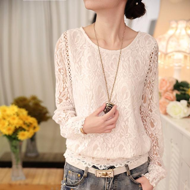 New Summer Ladies White Blush Women's Long Sleeve Chiffon Lace Crochet Tops Blouses Clothing Feminine Blouse-Blouse-SheSimplyShops