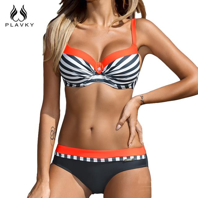 Striped Patchwork Bikini Swim Beach Wear Bathing Suit Swimsuit Swimwear Women Push Up Bikini-SWIMWEAR-SheSimplyShops