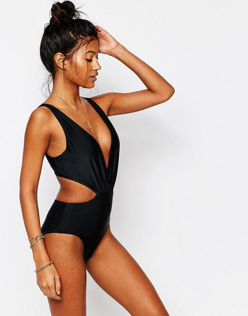 Black One Piece Swimsuit body Swimwear Women Bathing Suit Summer Beach Swim Swimsuit-SheSimplyShops