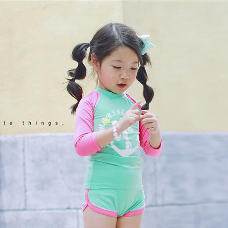 Long Sleeves Two Pieces Child Girls Bathing Suit Children Swimwear-SheSimplyShops