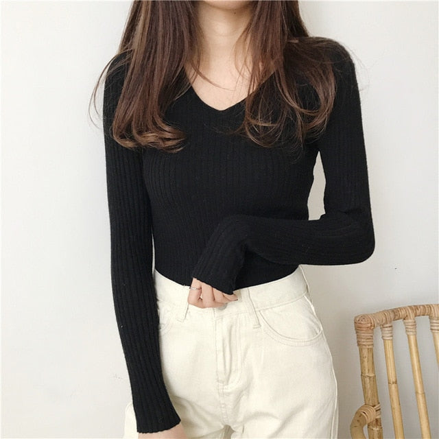 Sweaters Knitted Autumn Winter Sweater Women Office Vintage Pullover White With Black Sweater Women V Neck Sweater Female Korean