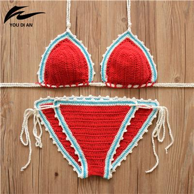 Women Halter Handmade Knitting Swimsuit Bathing Suit Bikinis-SWIMWEAR-SheSimplyShops