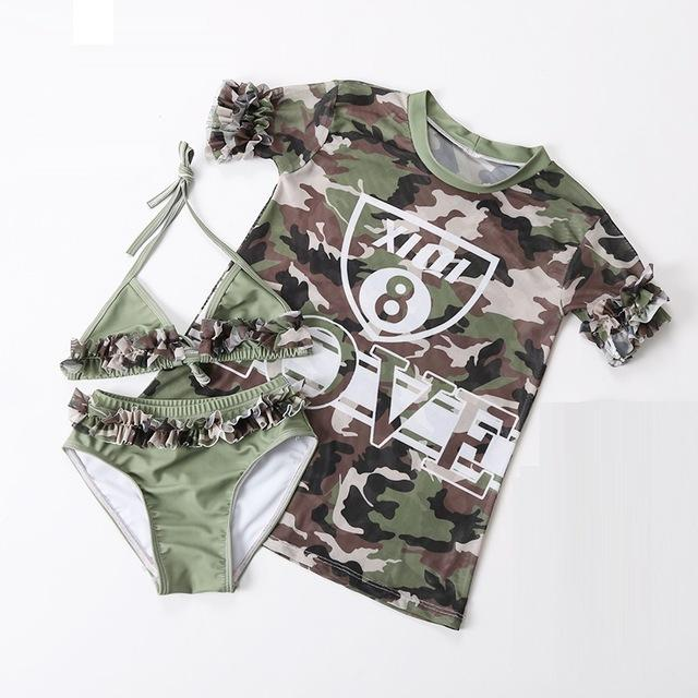 Children swimwear Girls Camouflage sunscreen print Bikini baby swimming suits-SheSimplyShops