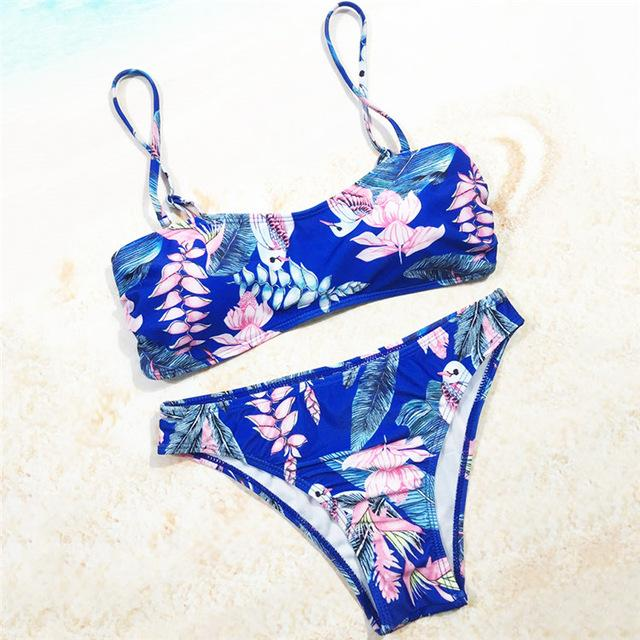 Blue Floral Bird Bandeau Swim Wear Bathing Suit Swimsuit Swimwear Women Bikini Set-SWIMWEAR-SheSimplyShops