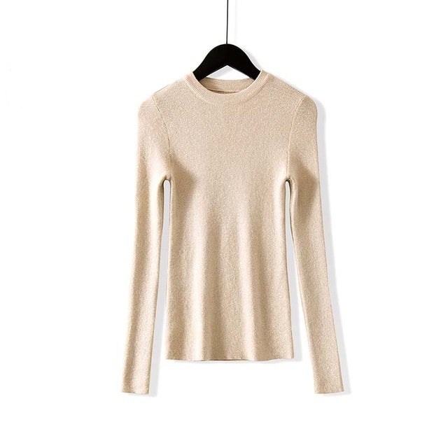 WOTWOY Shiny Lurex Autumn Winter Sweater Women Long Sleeve Pullover Women Basic Sweaters Women Korean Style Knit Tops Femme